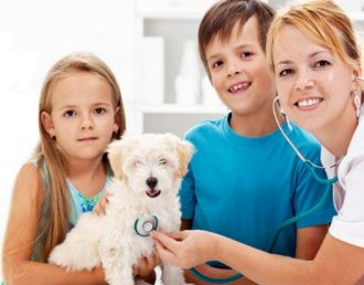 kids and vet with little dog