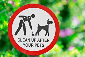 sign in the park about pets